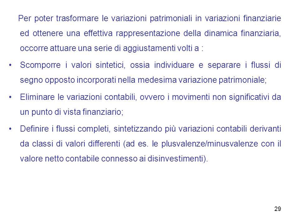 29 Per poter trasformare le variazioni patrimoniali in variazioni finanziarie ed ottenere una effettiva rappresentazione della dinamica finanziaria, o
