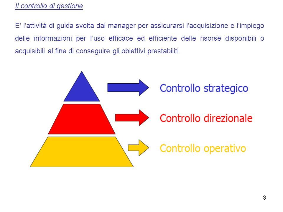3 Il controllo di gestione E lattività di guida svolta dai manager per assicurarsi lacquisizione e limpiego delle informazioni per luso efficace ed ef
