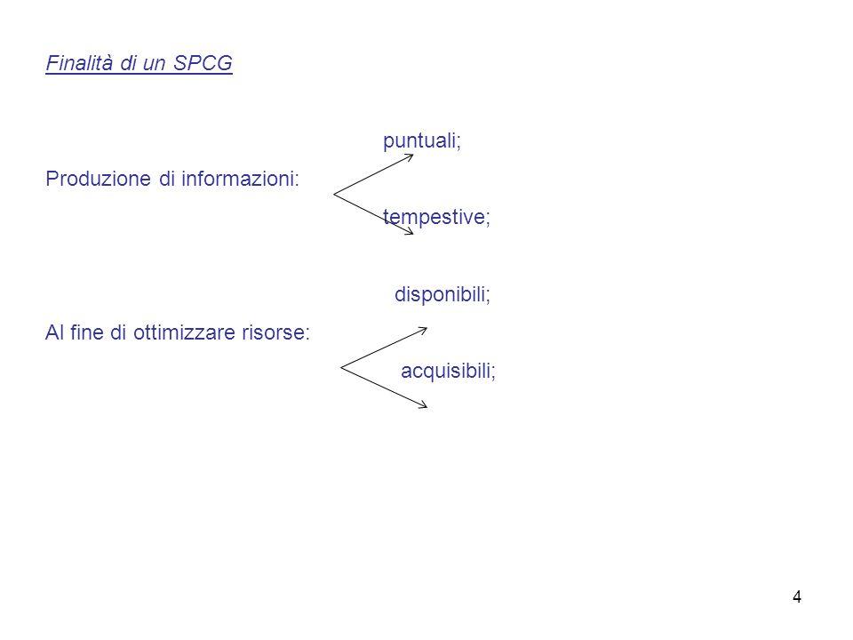 Finalità di un SPCG puntuali; Produzione di informazioni: tempestive; disponibili; Al fine di ottimizzare risorse: acquisibili; 4