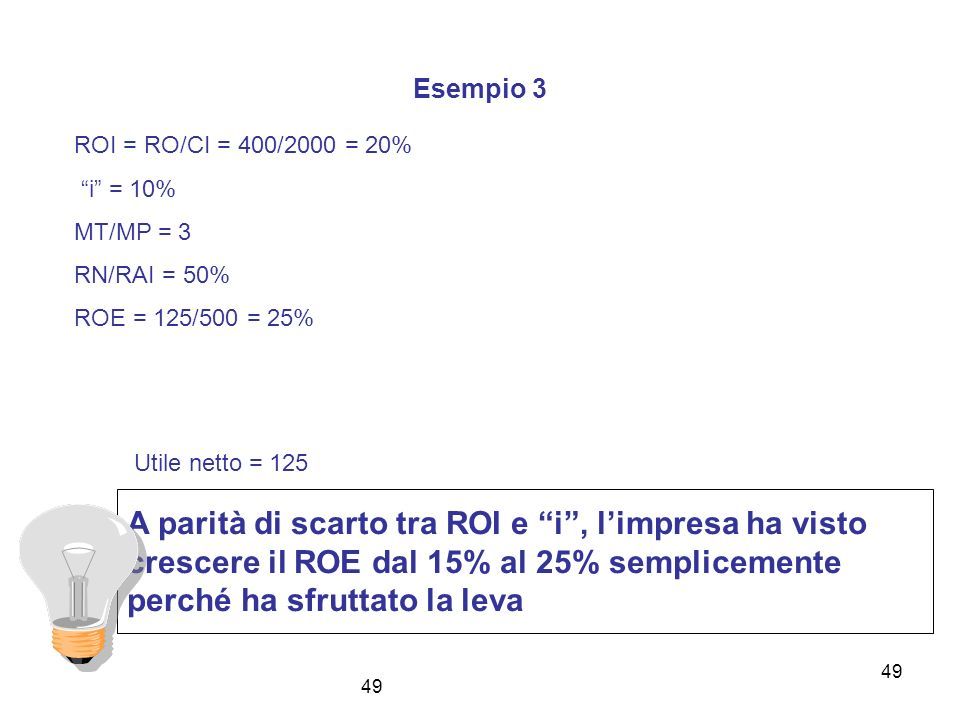 49 Esempio 3 ROI = RO/CI = 400/2000 = 20% i = 10% MT/MP = 3 RN/RAI = 50% ROE = 125/500 = 25% A parità di scarto tra ROI e i, limpresa ha visto crescer