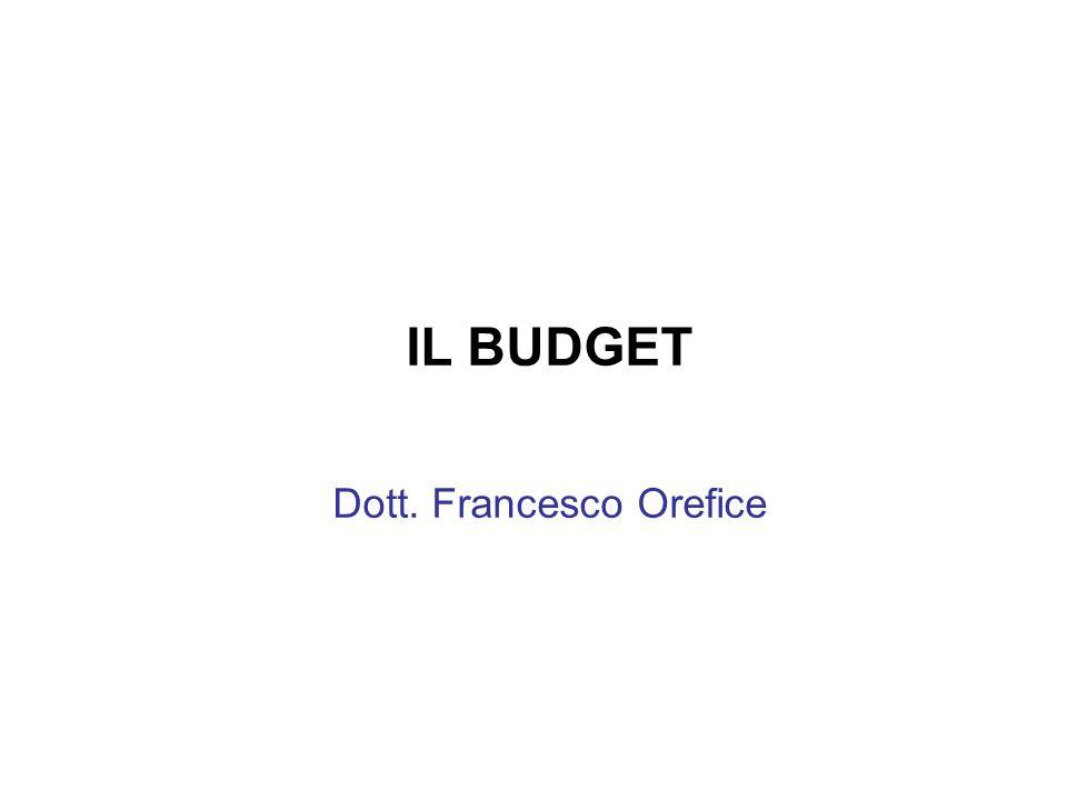 IL BUDGET Dott. Francesco Orefice