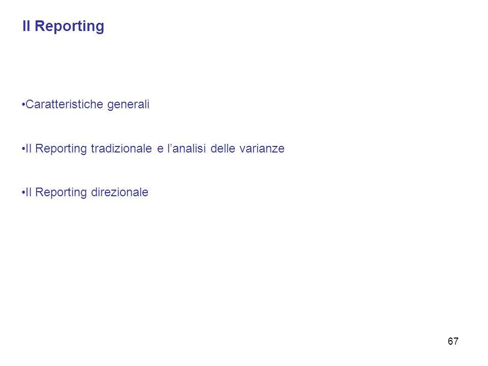 Il Reporting Caratteristiche generali Il Reporting tradizionale e lanalisi delle varianze Il Reporting direzionale 67