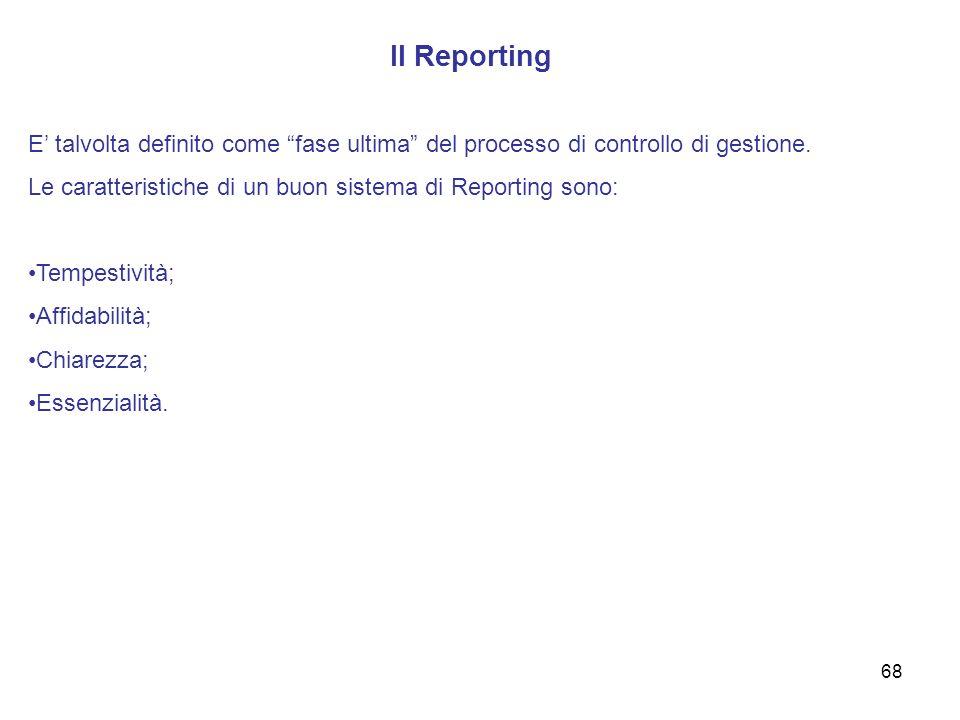 Il Reporting E talvolta definito come fase ultima del processo di controllo di gestione. Le caratteristiche di un buon sistema di Reporting sono: Temp