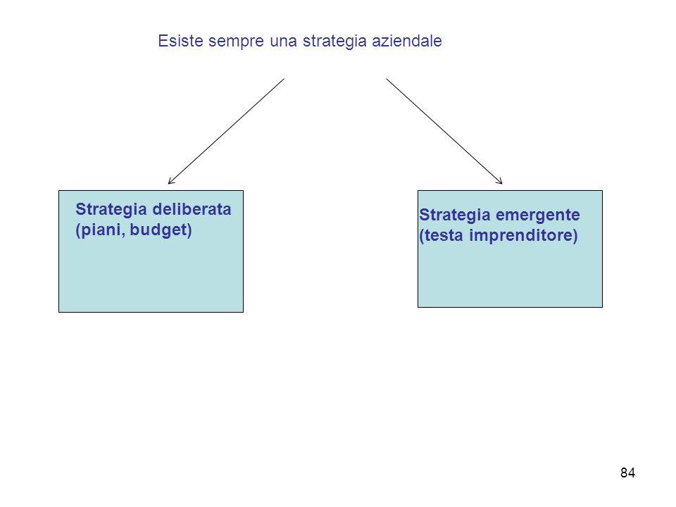 Esiste sempre una strategia aziendale Strategia deliberata (piani, budget) Strategia emergente (testa imprenditore) 84