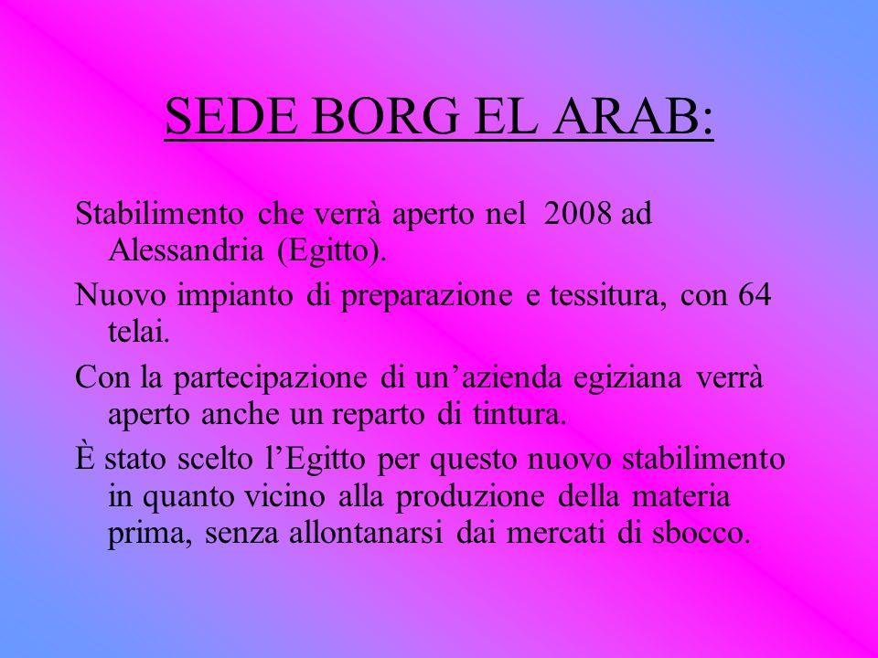SEDE BORG EL ARAB: Stabilimento che verrà aperto nel 2008 ad Alessandria (Egitto). Nuovo impianto di preparazione e tessitura, con 64 telai. Con la pa