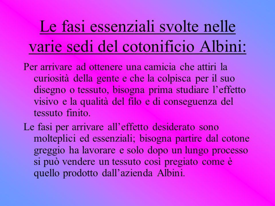 Le fasi essenziali svolte nelle varie sedi del cotonificio Albini: Per arrivare ad ottenere una camicia che attiri la curiosità della gente e che la c
