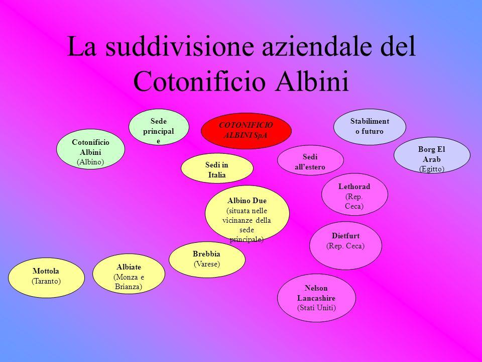 La suddivisione aziendale del Cotonificio Albini COTONIFICIO ALBINI SpA Sede principal e Cotonificio Albini (Albino) Sedi in Italia Albino Due (situat