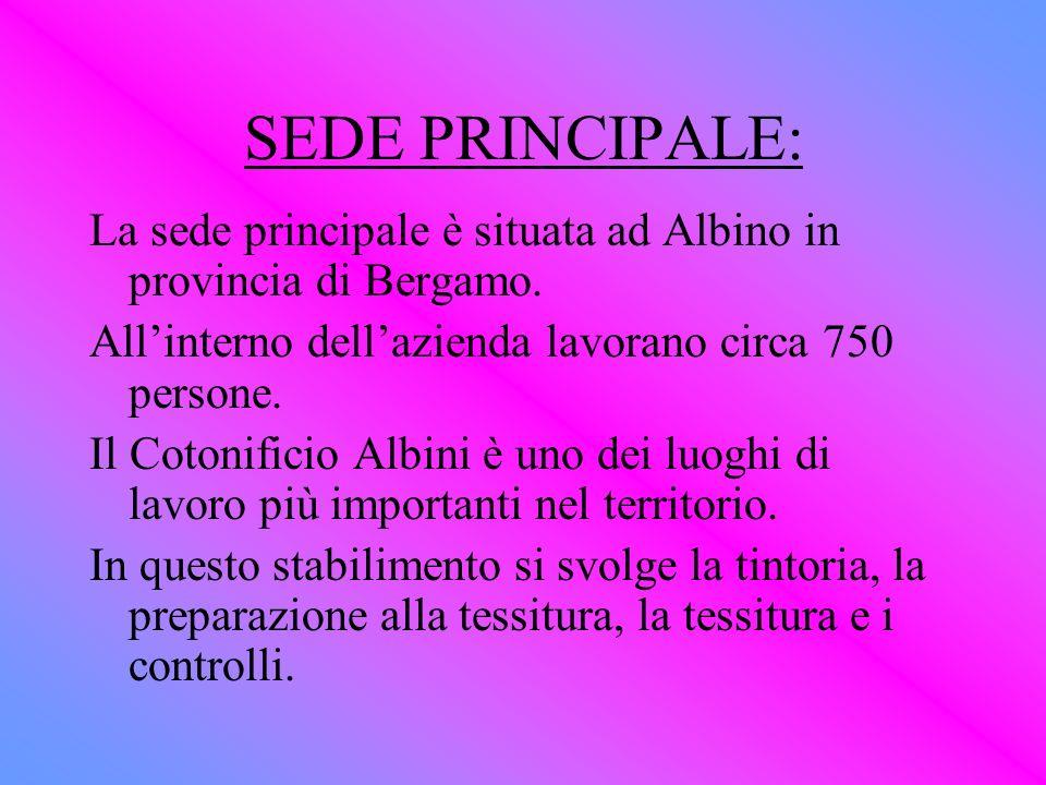 SEDE PRINCIPALE: La sede principale è situata ad Albino in provincia di Bergamo. Allinterno dellazienda lavorano circa 750 persone. Il Cotonificio Alb
