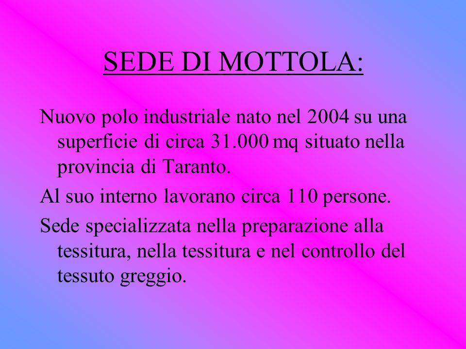 SEDE DI MOTTOLA: Nuovo polo industriale nato nel 2004 su una superficie di circa 31.000 mq situato nella provincia di Taranto. Al suo interno lavorano