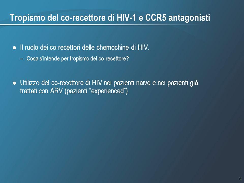 2 1/9/2007 - 730pmeSlide - P3591 - Template - Blue - No Logo Tropismo del co-recettore di HIV-1 e CCR5 antagonisti Il ruolo dei co-recettori delle che