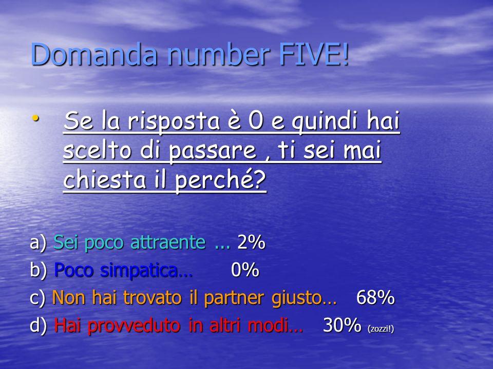 Domanda number FIVE.