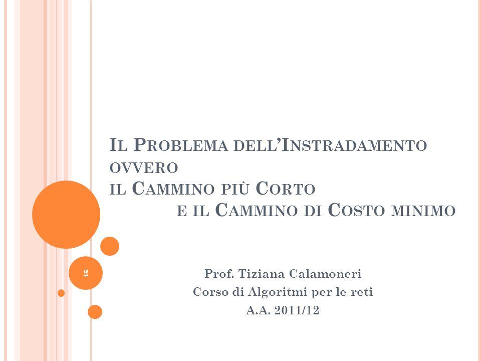 I L P ROBLEMA DELL I NSTRADAMENTO OVVERO IL C AMMINO PIÙ C ORTO E IL C AMMINO DI C OSTO MINIMO Prof.