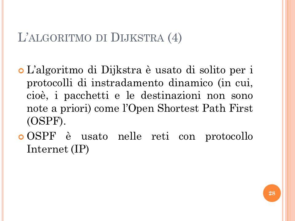 L ALGORITMO DI D IJKSTRA (4) Lalgoritmo di Dijkstra è usato di solito per i protocolli di instradamento dinamico (in cui, cioè, i pacchetti e le destinazioni non sono note a priori) come lOpen Shortest Path First (OSPF).