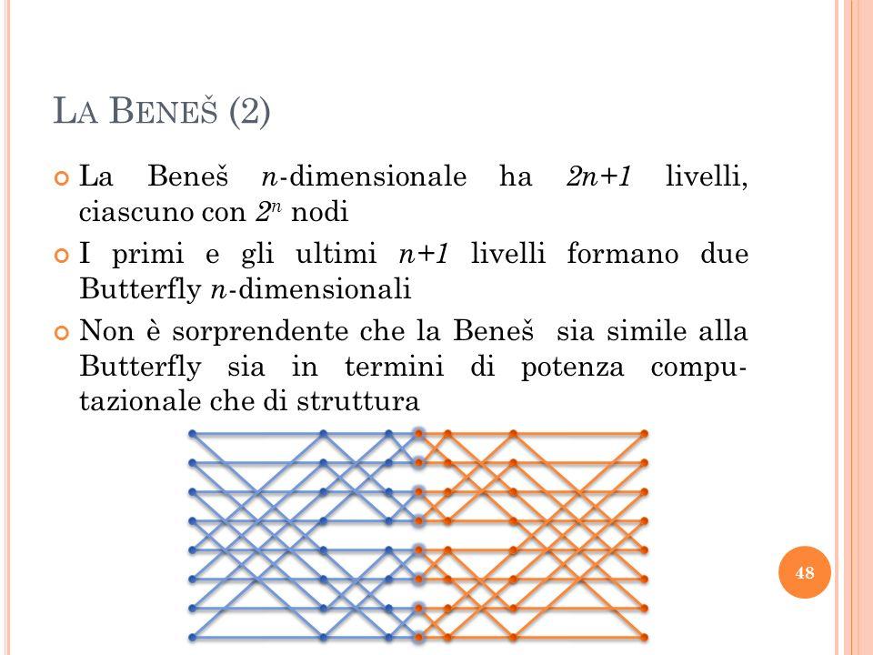 L A B ENEŠ (2) La Beneš n -dimensionale ha 2n+1 livelli, ciascuno con 2 n nodi I primi e gli ultimi n+1 livelli formano due Butterfly n -dimensionali Non è sorprendente che la Beneš sia simile alla Butterfly sia in termini di potenza compu- tazionale che di struttura 48