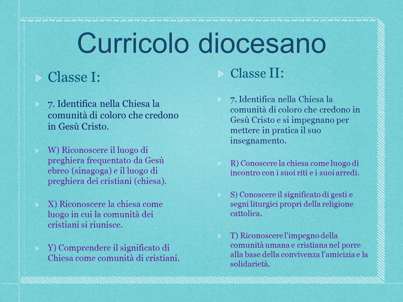 Curricolo diocesano Classe I: 7.