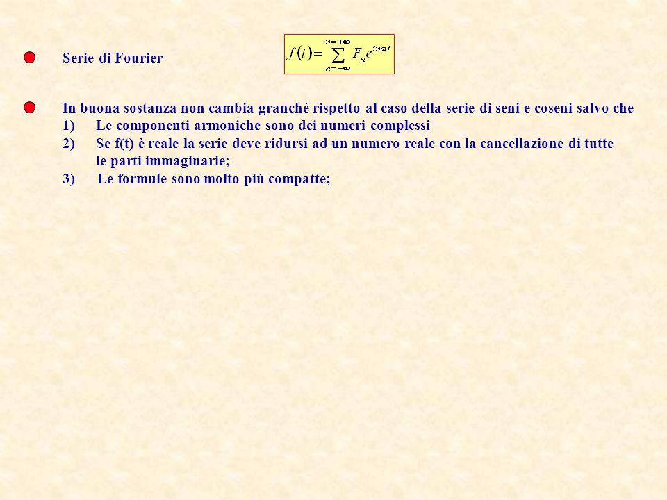 Serie di Fourier In buona sostanza non cambia granché rispetto al caso della serie di seni e coseni salvo che 1)Le componenti armoniche sono dei numer
