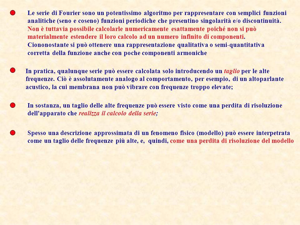 Le serie di Fourier sono un potentissimo algoritmo per rappresentare con semplici funzioni analitiche (seno e coseno) funzioni periodiche che presenti