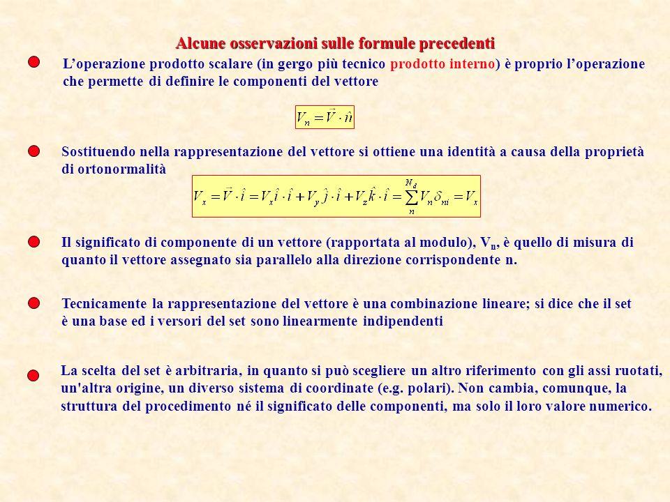 Loperazione prodotto scalare (in gergo più tecnico prodotto interno) è proprio loperazione che permette di definire le componenti del vettore Sostitue