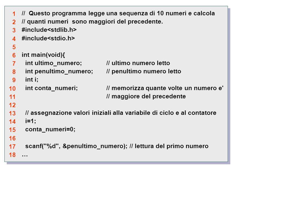 // Questo programma legge una sequenza di 10 numeri e calcola // quanti numeri sono maggiori del precedente.