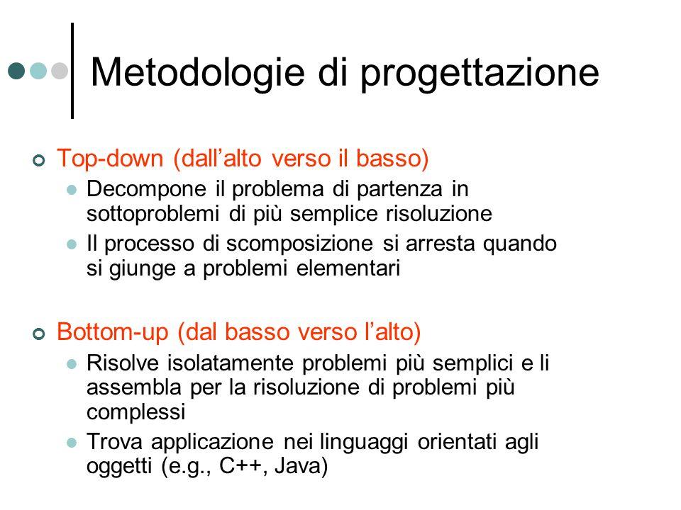 Metodologie di progettazione Top-down (dallalto verso il basso) Decompone il problema di partenza in sottoproblemi di più semplice risoluzione Il processo di scomposizione si arresta quando si giunge a problemi elementari Bottom-up (dal basso verso lalto) Risolve isolatamente problemi più semplici e li assembla per la risoluzione di problemi più complessi Trova applicazione nei linguaggi orientati agli oggetti (e.g., C++, Java)