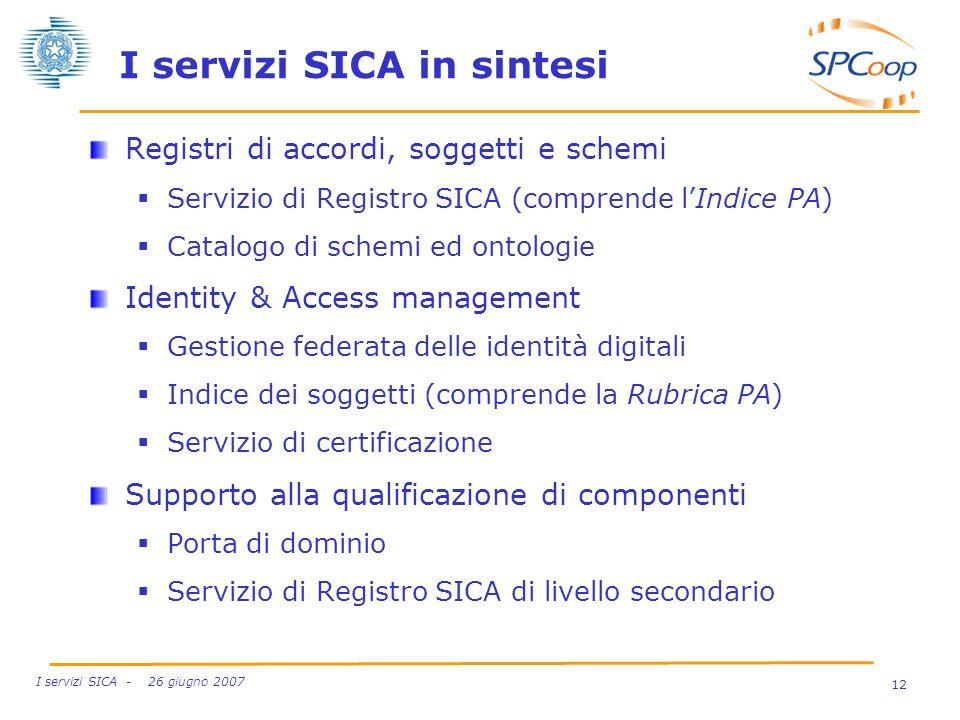 12 I servizi SICA - 26 giugno 2007 I servizi SICA in sintesi Registri di accordi, soggetti e schemi Servizio di Registro SICA (comprende lIndice PA) C