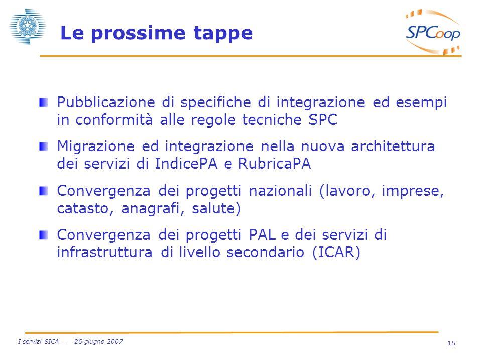 15 I servizi SICA - 26 giugno 2007 Le prossime tappe Pubblicazione di specifiche di integrazione ed esempi in conformità alle regole tecniche SPC Migr