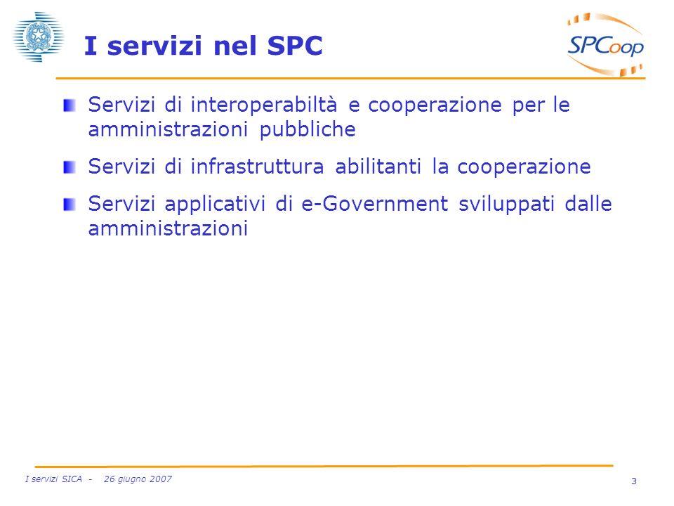3 I servizi SICA - 26 giugno 2007 I servizi nel SPC Servizi di interoperabiltà e cooperazione per le amministrazioni pubbliche Servizi di infrastruttu