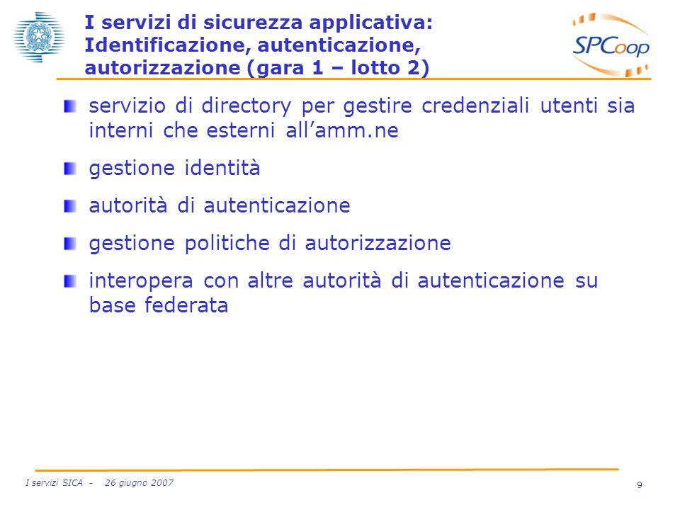 9 I servizi SICA - 26 giugno 2007 I servizi di sicurezza applicativa: Identificazione, autenticazione, autorizzazione (gara 1 – lotto 2) servizio di d