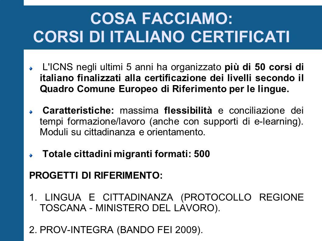 COSA FACCIAMO: CORSI DI ITALIANO CERTIFICATI L ICNS negli ultimi 5 anni ha organizzato più di 50 corsi di italiano finalizzati alla certificazione dei livelli secondo il Quadro Comune Europeo di Riferimento per le lingue.