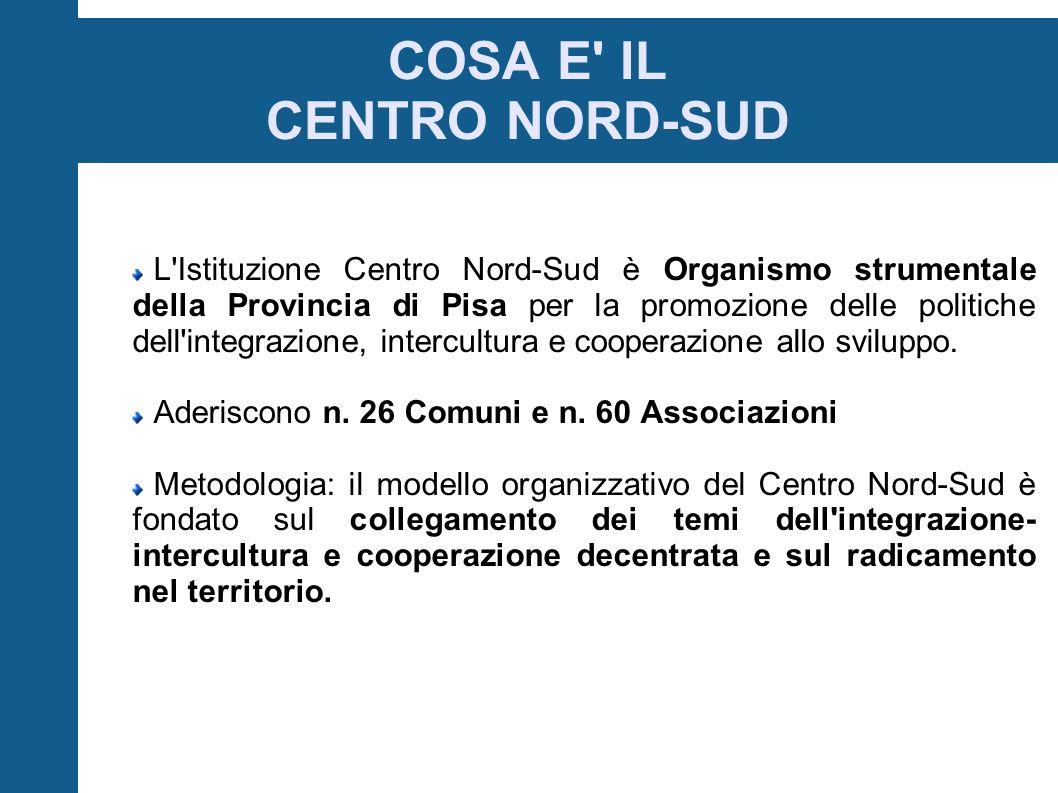 L Istituzione Centro Nord-Sud è Organismo strumentale della Provincia di Pisa per la promozione delle politiche dell integrazione, intercultura e cooperazione allo sviluppo.