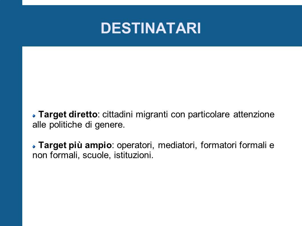 DESTINATARI Target diretto: cittadini migranti con particolare attenzione alle politiche di genere.