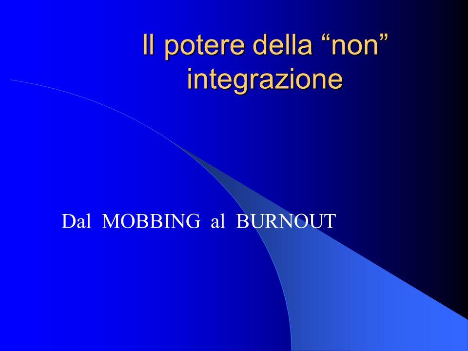 Il potere della non integrazione Dal MOBBING al BURNOUT