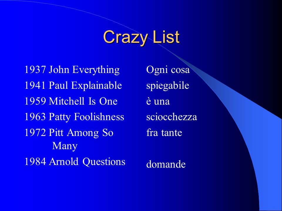 Crazy List 1937 John Everything 1941 Paul Explainable 1959 Mitchell Is One 1963 Patty Foolishness 1972 Pitt Among So Many 1984 Arnold Questions Ogni c