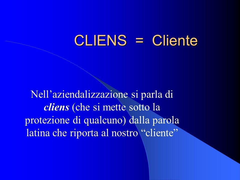 CLIENS = Cliente Nellaziendalizzazione si parla di cliens (che si mette sotto la protezione di qualcuno) dalla parola latina che riporta al nostro cli