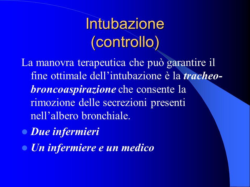 Intubazione (controllo) La manovra terapeutica che può garantire il fine ottimale dellintubazione è la tracheo- broncoaspirazione che consente la rimo