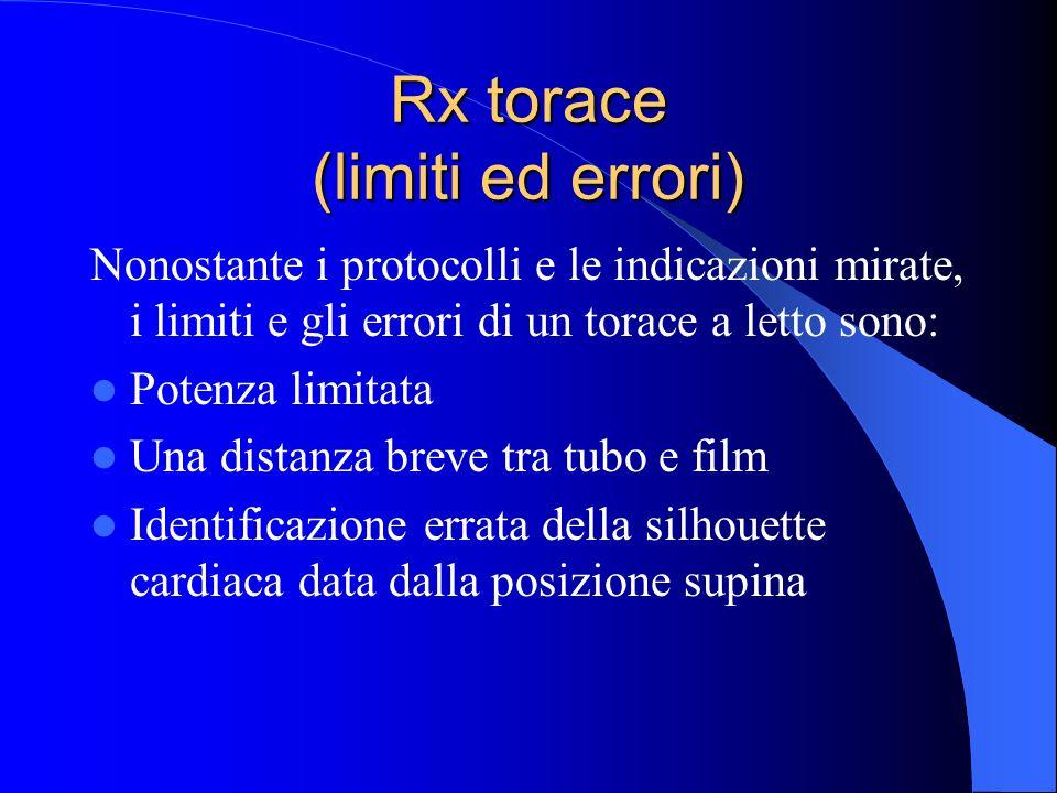 Rx torace (limiti ed errori) Nonostante i protocolli e le indicazioni mirate, i limiti e gli errori di un torace a letto sono: Potenza limitata Una di
