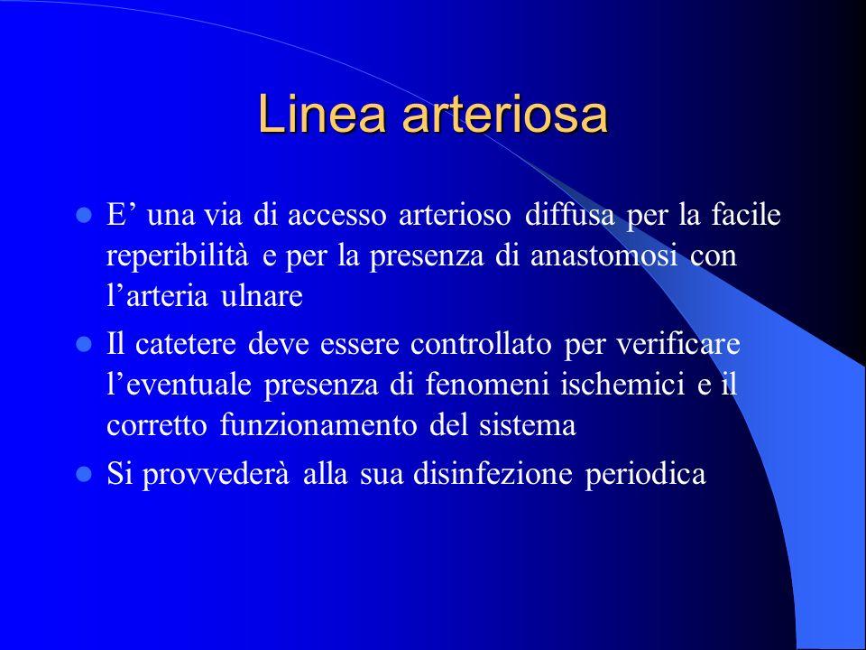 Linea arteriosa E una via di accesso arterioso diffusa per la facile reperibilità e per la presenza di anastomosi con larteria ulnare Il catetere deve
