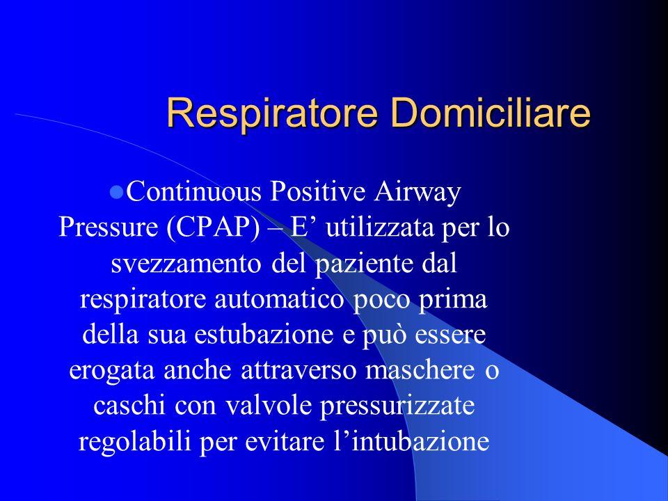 Respiratore Domiciliare Continuous Positive Airway Pressure (CPAP) – E utilizzata per lo svezzamento del paziente dal respiratore automatico poco prim