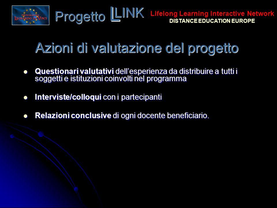 Azioni di valutazione del progetto Questionari valutativi dellesperienza da distribuire a tutti i soggetti e istituzioni coinvolti nel programma Quest