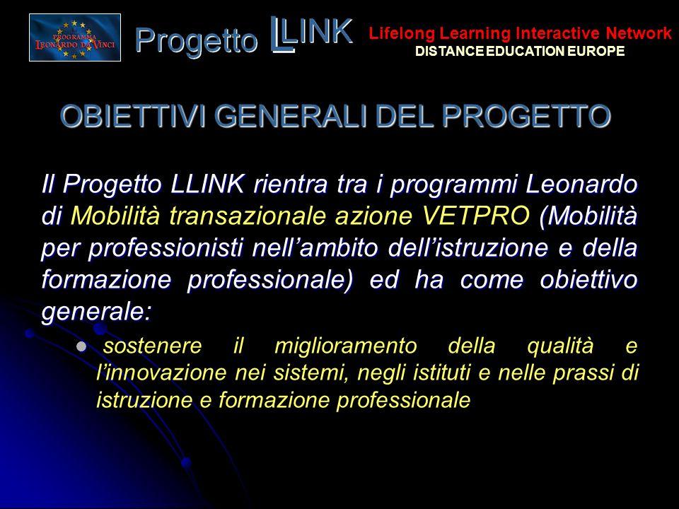 OBIETTIVI GENERALI DEL PROGETTO Il Progetto LLINK rientra tra i programmi Leonardo di (Mobilità per professionisti nellambito dellistruzione e della f