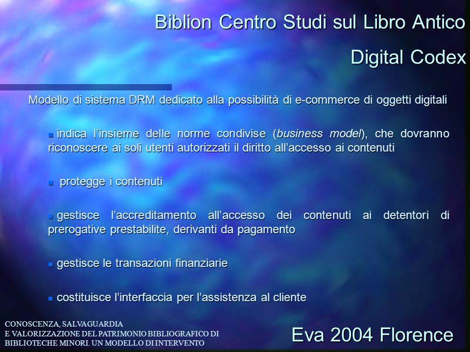 Biblion Centro Studi sul Libro Antico Modello di sistema DRM dedicato alla possibilità di e-commerce di oggetti digitali n indica linsieme delle norme