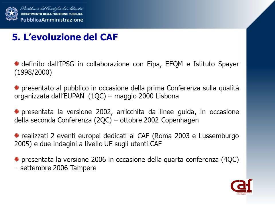 5. Levoluzione del CAF definito dallIPSG in collaborazione con Eipa, EFQM e Istituto Spayer (1998/2000) presentato al pubblico in occasione della prim
