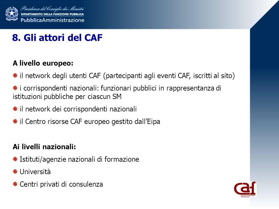 8. Gli attori del CAF A livello europeo: il network degli utenti CAF (partecipanti agli eventi CAF, iscritti al sito) i corrispondenti nazionali: funz
