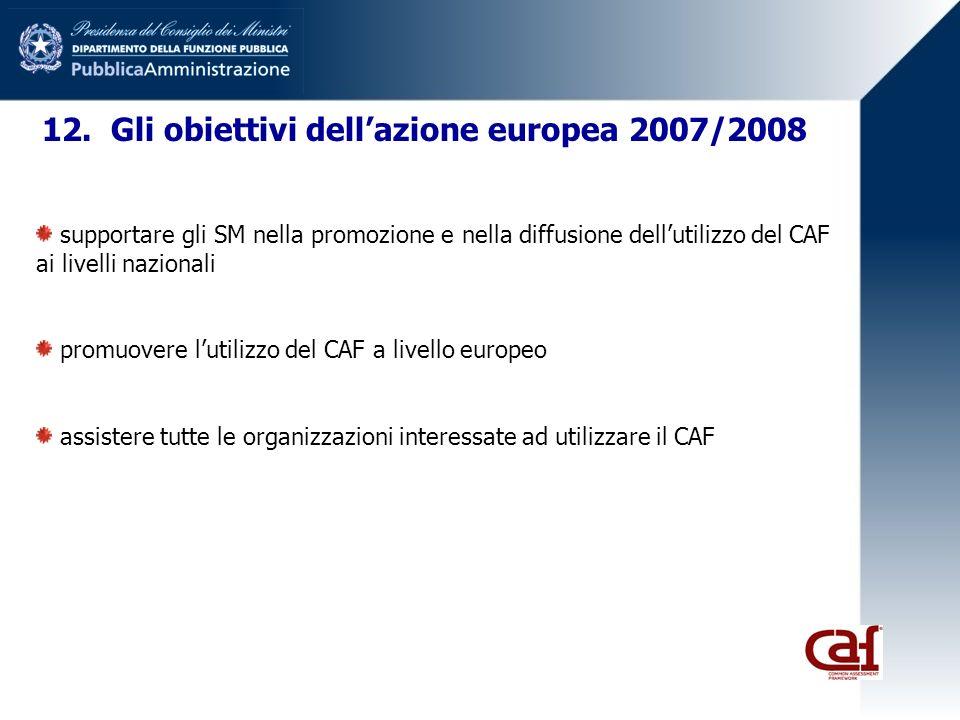 12. Gli obiettivi dellazione europea 2007/2008 supportare gli SM nella promozione e nella diffusione dellutilizzo del CAF ai livelli nazionali promuov