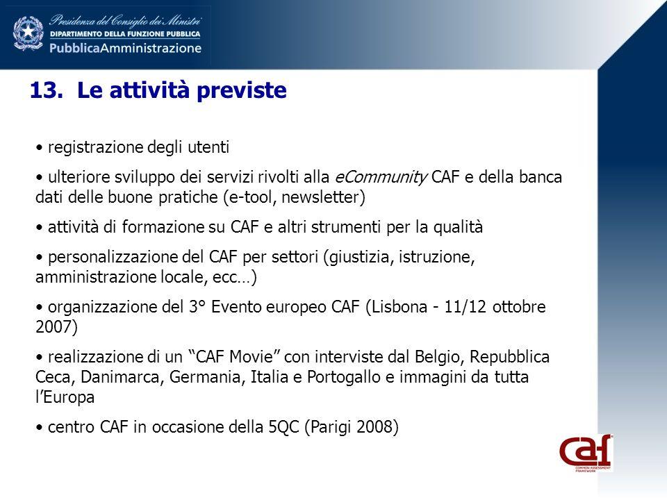 13. Le attività previste registrazione degli utenti ulteriore sviluppo dei servizi rivolti alla eCommunity CAF e della banca dati delle buone pratiche