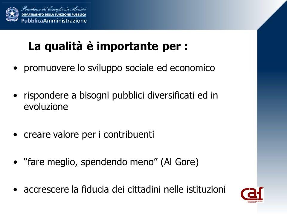 La qualità è importante per : promuovere lo sviluppo sociale ed economico rispondere a bisogni pubblici diversificati ed in evoluzione creare valore per i contribuenti fare meglio, spendendo meno (Al Gore) accrescere la fiducia dei cittadini nelle istituzioni