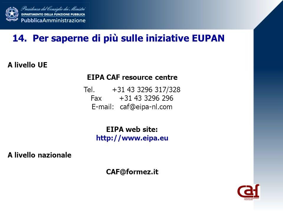 14. Per saperne di più sulle iniziative EUPAN A livello UE EIPA CAF resource centre Tel.