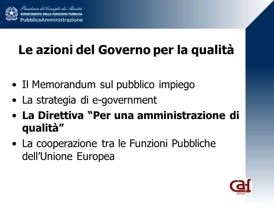 Le azioni del Governo per la qualità Il Memorandum sul pubblico impiego La strategia di e-government La Direttiva Per una amministrazione di qualità La cooperazione tra le Funzioni Pubbliche dellUnione Europea