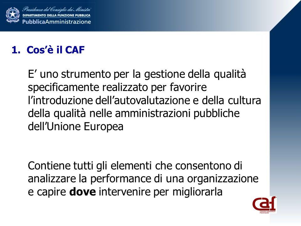 1. Cosè il CAF E uno strumento per la gestione della qualità specificamente realizzato per favorire lintroduzione dellautovalutazione e della cultura