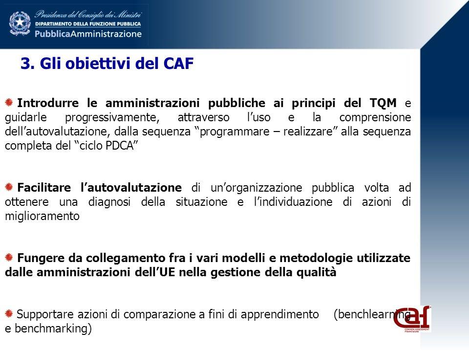 3. Gli obiettivi del CAF Introdurre le amministrazioni pubbliche ai principi del TQM e guidarle progressivamente, attraverso luso e la comprensione de